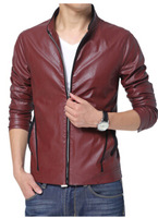 2014 Autumn Hot Long Sleeve Korean New Fashion Men's Red Black Stand Collar Solid Zipper Casual Suit PU Leather Jacket XMNZ122