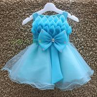girls frozen dresses big bow party dress wedding dress blue flower dress age 2 to 6 years