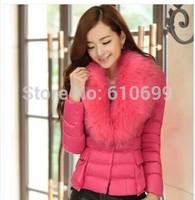 2014 women winter coat with fur collar female short Slim padded cotton jacket large size women thick coat