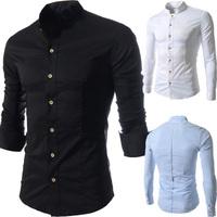 Fashion 2014 high-quality men casual dress shirt Men's slim pure color long sleeve shirts free shipping plus size M~XXL
