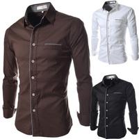 High quality! free shipping 2014 new fashion men casual dress shirt Men's slim pure color long sleeve shirts plus size M~XXL