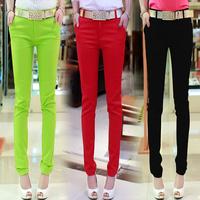 2014 autumn slim skinny pants women's candy color pencil pants casual long trousers pants