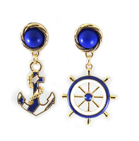 European Gold Plated Vintage Blue Nautical Anchor Round Rudder Dangle Earrings Brinco 2014 6Pairs/lot