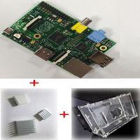 2.0 Model B 512MB Board + Transparent Box Case + Heatsink x3