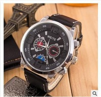 HOT Sell  3ATM Waterproof Quartz Business Men's Watches,Men's Military Watches,Men's Leather Strap Sports Watches invicta
