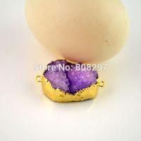 DIY Gold Plated Edge , Purple Drusy Druzy quartz  Agate Connector Beads Finding 8PCS/LOT