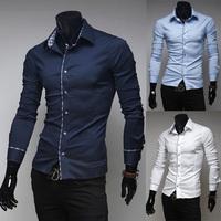 Free shipping 2014 hot sale new fashion men casual dress shirt Men's slim luxury edge wrap button shirts plus size M~XXL