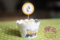 Free shipping 100 Pcs/Lot The little baby  birthday cake Insert Card Despicable Me  cupcake inserted card