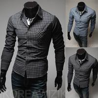 Hot-selling! free shipping 2014 new fashion men casual dress shirt Men's slim plaid long sleeve splicing shirts plus size M~XXL