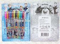 """wholesale 1 set /12 pcs 12 colors """"metallic glitter + fruit scent """" Frozen ink blink pencil ballpoint pen"""