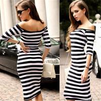 2014 European Style Women Fashion Sexy Slash Neck Striped Dress Slim Bodycon Bandage Dress Pencil Dress Pencil Dress