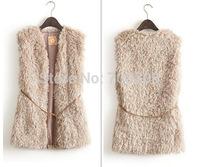 Hot sale 2014 New Winter Women Coat 3 Colors plush Lambs Wool Cardigan Vest Female Long Tops with belts Warm Coat Drop shipping