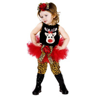 New arrival girl`s Christmas two-piece set summer female child christmas deer onepiece dress Leopard legging headband suits