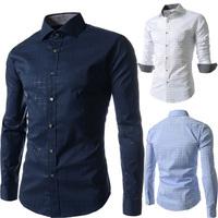 Free Shipping 2014 Brand New Fashion Men's plaid Slim Fit Long Sleeve Casual Shirts Mens Dress Shirts plus size M~XXL, Wholesale