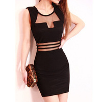 2014 sexy dress low-cut hollow Slim package hip dress gauze perspective Women dress
