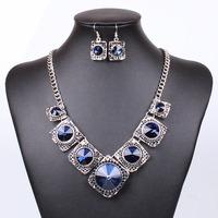 2014 Fashion Temperament  Sliver Plated Crystal Flower Design Pendant Necklace Set QD4006