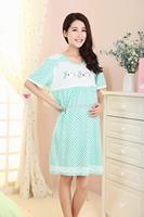 Pregnant women sleep dress short-sleeved summer cotton pajamas lactation maternal nightgown 51715