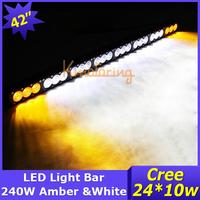 "240W 43"" Cree LED Light Bar 24000lm Amber and White led Working Light 12V/24V AWD SUV Car 4X4 24X10W Spot Flood Beam 4WD Truck"
