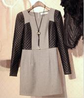 2014 New Autumn and Winter Women's plus size woolen one-piece dress elegant long-sleeve basic dress Shift dress Free shipping