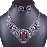 2014 Fashion Vintage Sliver Plated Crystal Flower Design Necklace Set QD9038