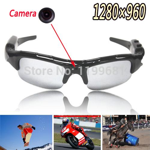 2014 New Digital wireless sunglasses Camera Mobile Eyewear Video Voice Recorder DV DVR mini camcorder HD 1280*960 free dropship(China (Mainland))