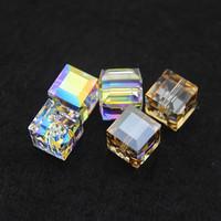 Hot sale2014 unique Square- shape crystal beads 6mm8mm&10mm 2 colors high quality original 20pcs/lot factory swa austrian sj005