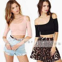 2014 new women's stretch cotton t leak shoulder oblique Slim sexy female short paragraph small vest