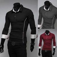 2014 Hot Sale New Design Autumn Mens Pure Color Polo Shirt,Casual Slim Fashion Personality Edge Polo Shirt For Men,Size M~XXL
