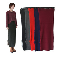 Women Casual High Waist Side Split Knit Pencil Stretch Bodycon Slim Long Skirt