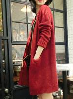 Elegant loose women's 2014 long design no button thickening sweater outerwear cardigan Autumn