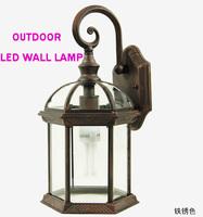 Durable outdoor vintage led  waterproof balcony porch lights classical lantern aluminum wall lamp e27 base AC85-265V