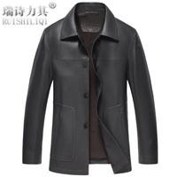 Genuine leather clothing leather jacket Men male leather jacket leather coat medium-long trench