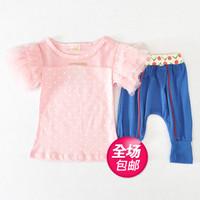Children's clothing 2014 summer girls clothing baby casual set 100% dot cotton yarn set short-sleeve set