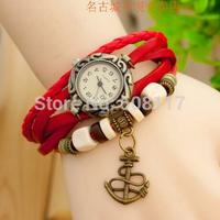 DHL free shipping to US  60pcs/lot Fashion arrow anchor charm leather wrap bracelet watch quartz watch relogio feminino