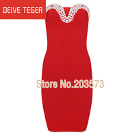 (DEIVE TEGER )Free shipping 2014 red beading   STRAPLESS DRESS  pencil  bandage dress Party Evening Dresses  HL1154