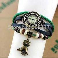 DHL free shipping to US  60pcs/lot Cool Owl pendant leather bracelet watch vintage weave wrap men leather watch