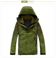 2015 new High Quality Men's Outdoor Double Layer 3in1 Waterproof Outdoor Jacket Climbing Jackets Windbreaker