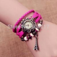 DHL free shipping to US  60pcs/lot Luxury women Eiffel Tower charm bracelet watch vintage women watch custom logo