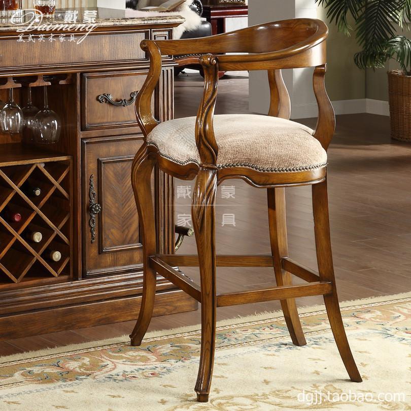 europeu de alta- grau americano bar cadeira tamborete de barra de móveis de madeira maciça tecido moda entretenimento hotel mobiliário negócio(China (Mainland))