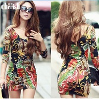 2014 New hot European autumn large size women dress 3D printing Slim package hip sexy dress free shipping