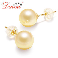 DHL Free Shipping Fashion Women Rare Natural Saltwater Pearl Earrings Stud 14K Gold Round Earring 8-8.5mm