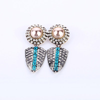 2014 New Style Luxury Statement High Quality Vintage Crystal Leaves Stud Earrings Women Fashion Brand Jewelry Accessories