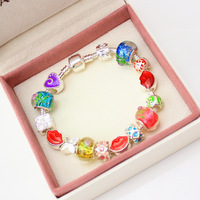 Dropping Shipping European 925 Silver sexy red lips Charm PAN bracelet silver 925 with box