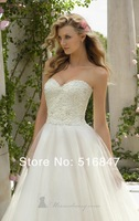 2014 Stock New Style White/ivory Beaded A-Line Sleeveless Bridal Gown High Quality Bridesmaid Dresses Free Shipping