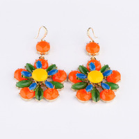 2014 New Style Luxury Statement Colorful Stones Flowers Resin Dangle Earrings Women Fashion Brand Earring Jewelry Accessories