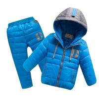2014 new winter children snowsuit color blocking hooded pure color boy coat+pants warm zipper girl's down jacketXY133