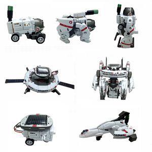 High Quality 1Set 7-in-1 Solar Robot Kit For Kids Children Model Building Kits White DIY Solar Rechargeable Space Fleet Kit(China (Mainland))