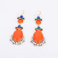 2014 New Style Luxury Statement Orange Stones Flowers Resin Dangle Earrings Women Fashion Brand Earring Jewelry Accessories
