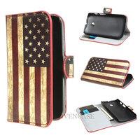 USA United States Flag Wallet Leather Card Holder Flip Case Cover For Motorola Moto E Dual XT1021 XT1022