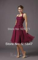 2014 New Fashion Purple Halter Knee length Chiffon Party Prom Dresses Bridesmaid Dresses Custom Size Free Shipping